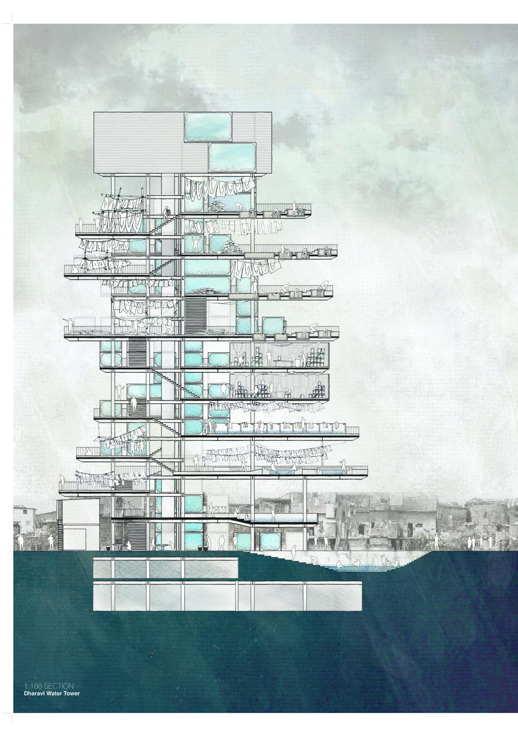 Enlarge Photo: Lawson Lai, Dharavi Water Tower for Informal Urbanism, 2011