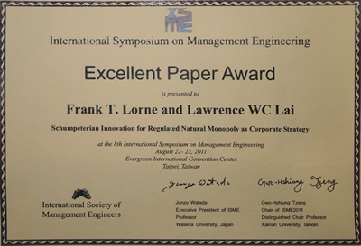 Professor Lawrence Lai and Professor Frank Lorne awarded Excellent Paper Award