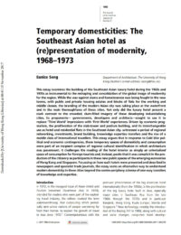 Temporary Domesticities: The Southeast Asian Hotel as (Re)Presentation of Modernity