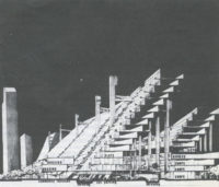 Unbuilt sectional study of early megastructure experiments, 1968, courtesy of William S.W. Lim
