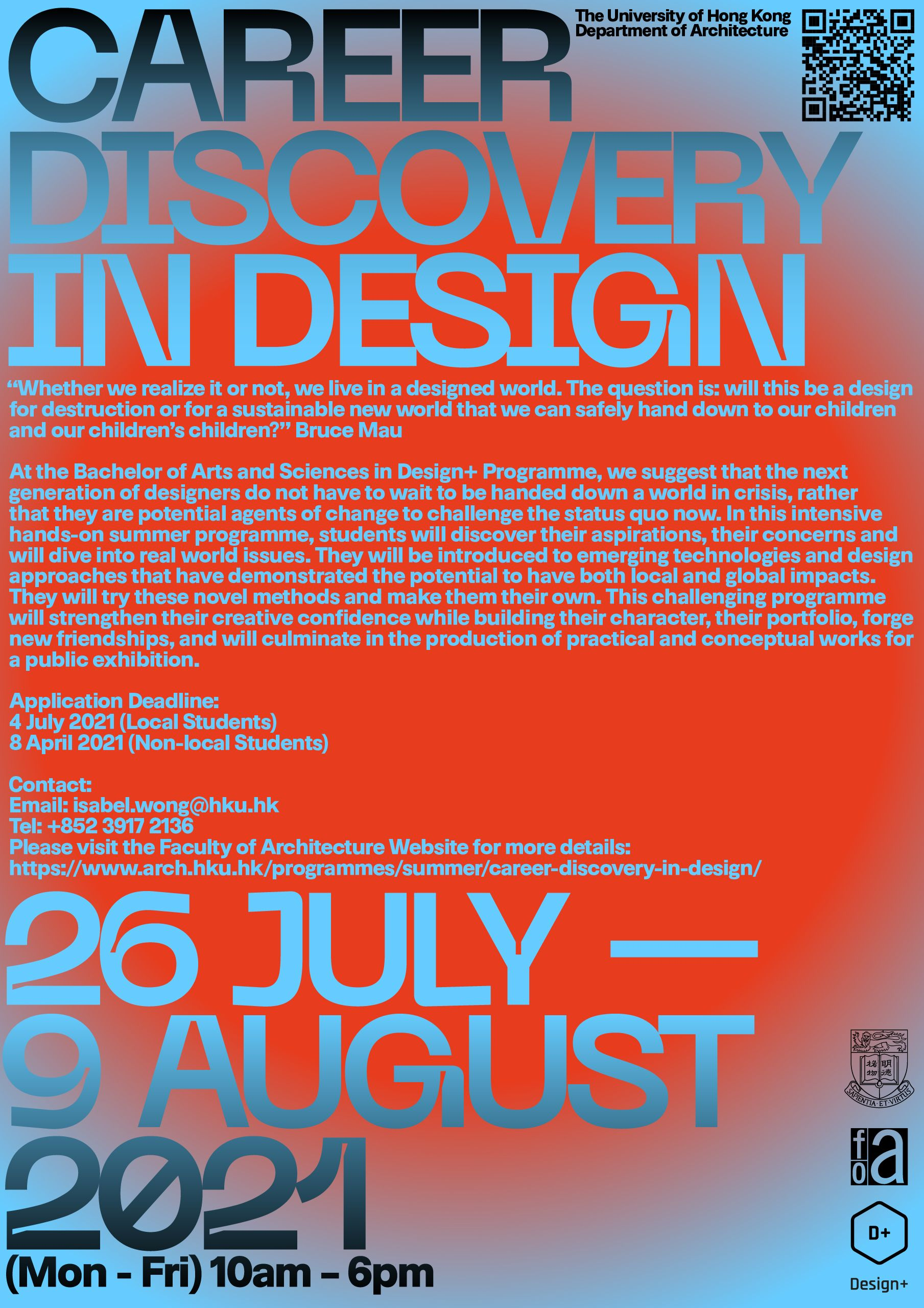 Enlarge photo: Poster of Career Discovery in Design 2021