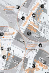 Enlarge Photo: Mapping on Interviews on Footbridges, Central. By CHAN Syl Yeng Michelle; FUNG Tin Lok Avalon; WONG Wae Ki Sammi.