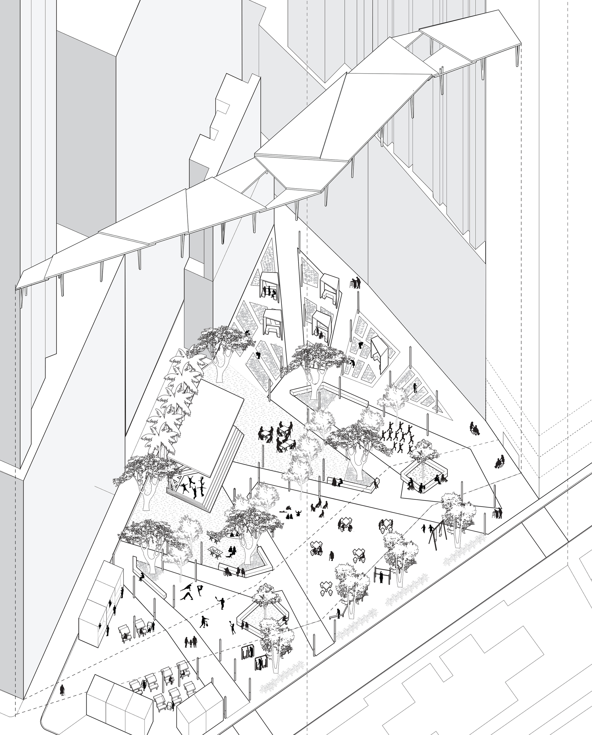 Enlarge Photo: Site design axon. By WONG Nok Yan.
