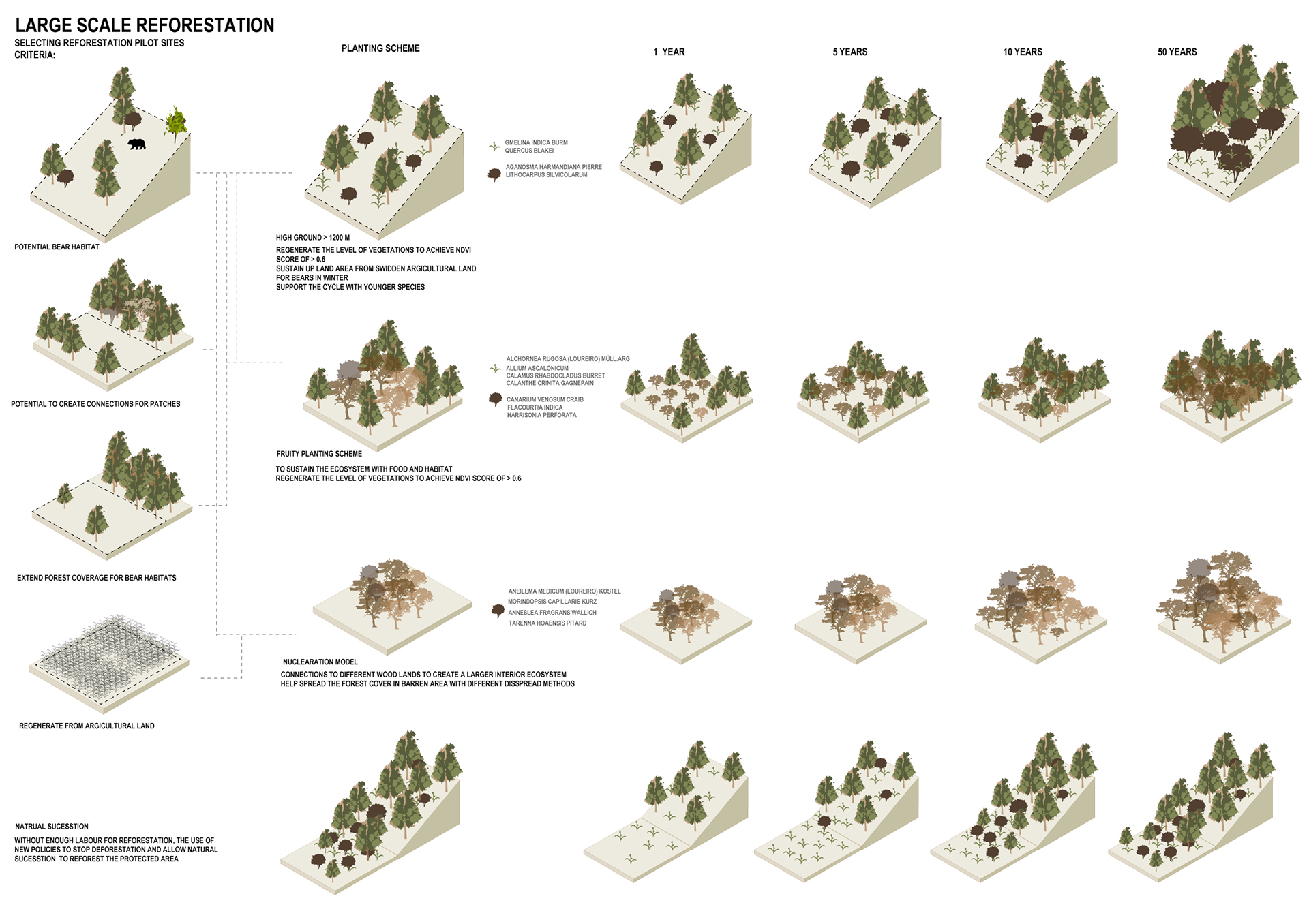 Enlarge Photo: The complex topography combined with rapid deforestation in Luang Prabang reduced the habitability for bears. A series of planting schemes in selected pilot sites for various purposes were then developed in preparation for bear rewilding. By MA On Ki Rachel, LEE Chi Hang Haven.