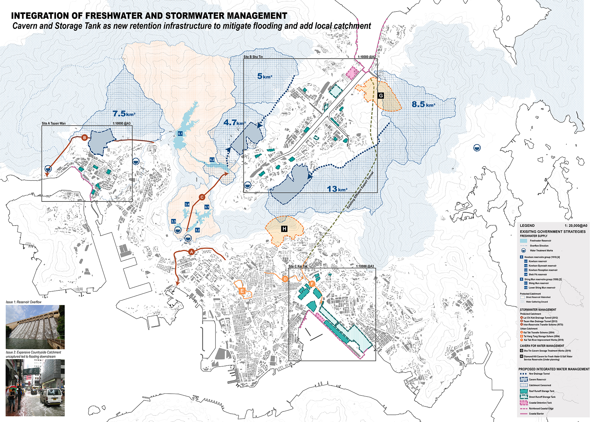 Enlarge Photo: The regional scale reviews existing freshwater and drainage infrastructure in protected catchment and maximizes the potential of integrative use. Cavern is proposed to be the new form of reservoir. By CHAN Ka Yu Phoebe.