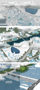 Enlarge Photo: The perspectives suggest response of different districts upon their urban setting in wet and dry scenario, which water infrastructure caters freshwater, drainage and recreation purpose to the community. By CHAN Ka Yu Phoebe.