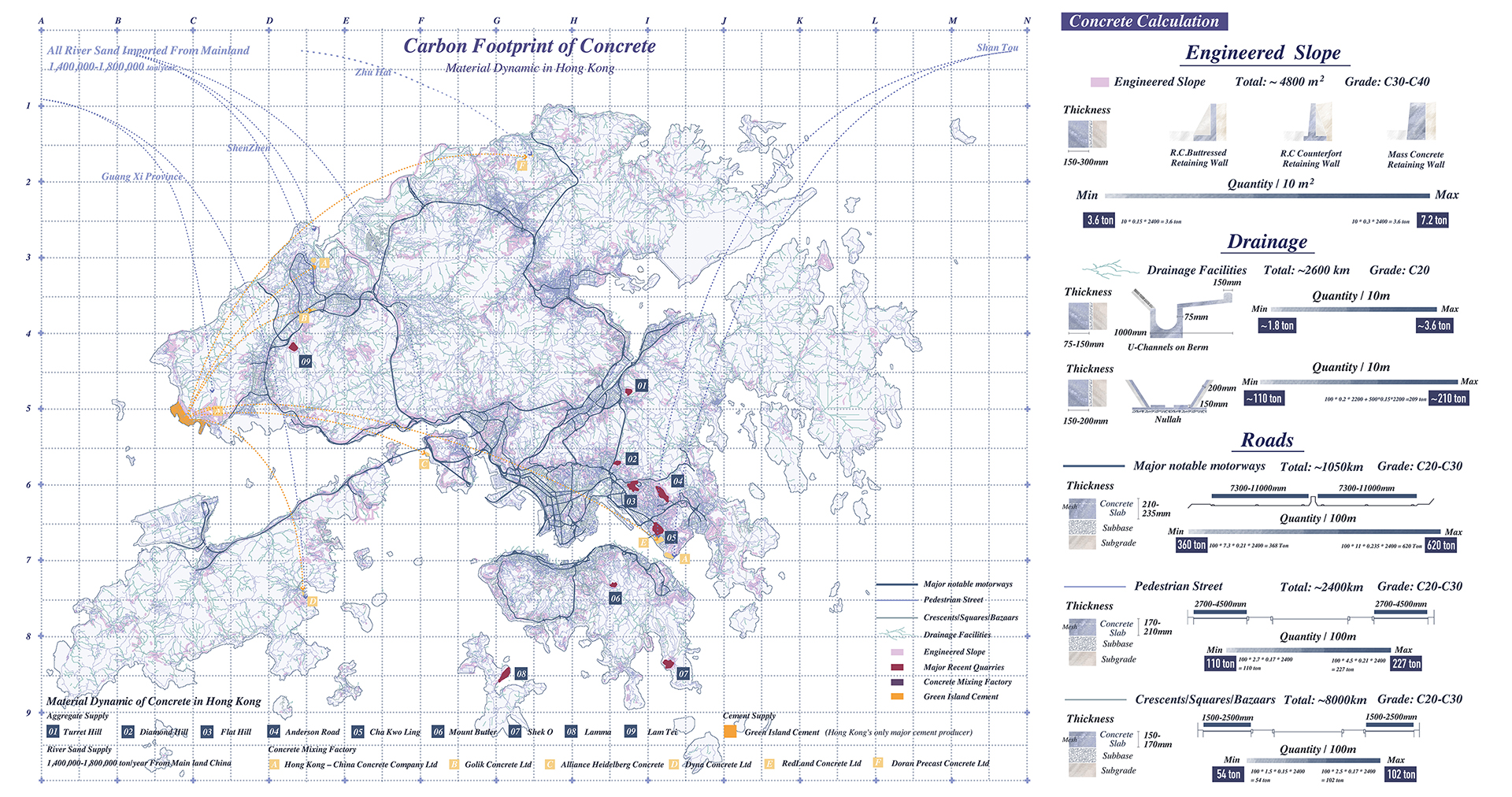 Enlarge Photo: The mapping shows the material dynamic of concrete; the urban infrastructure is used as a touchstone to study the carbon footprint of concrete in Hong Kong. By HE Jialei Constance.
