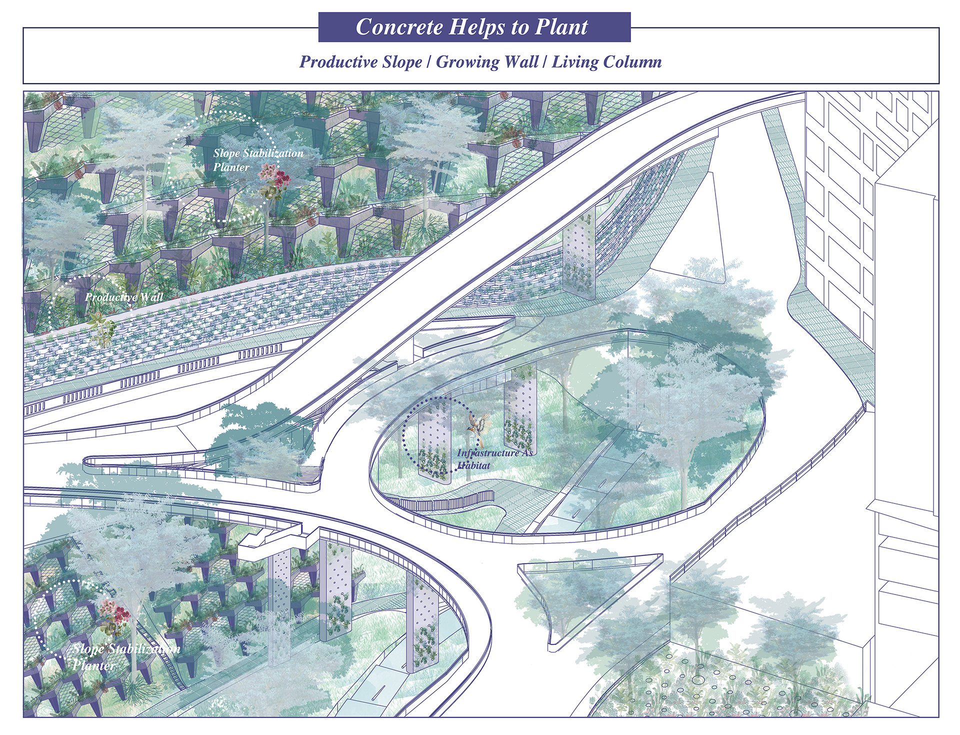 Enlarge Photo: Robinson Road with concrete cover slope and retaining wall is used to focus on their high-grade concrete performance, the strategy tries to use the concrete structure as a container, and achieve more ecological function. By HE Jialei Constance.