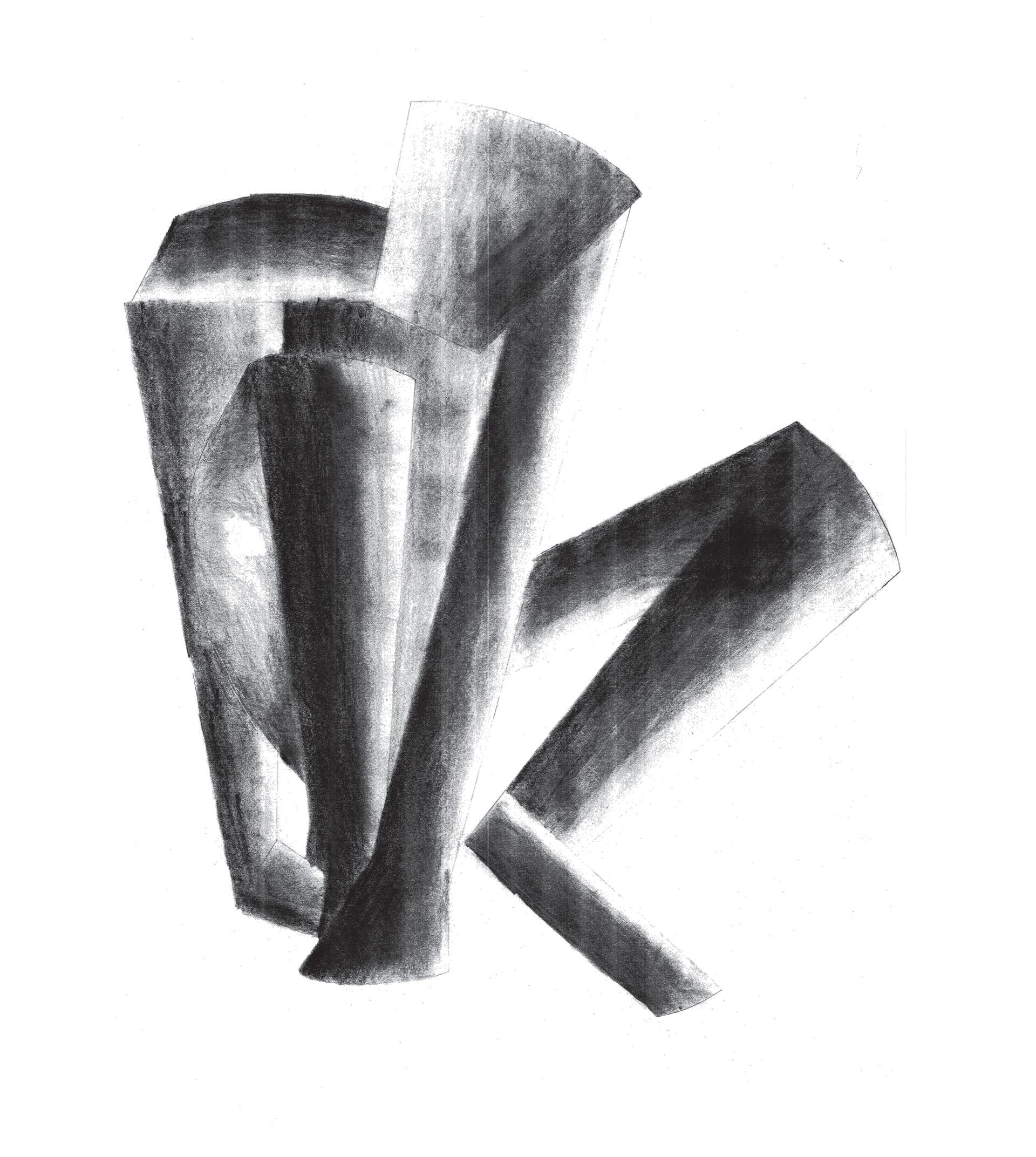 Enlarge Photo: Analytical drawing of crouching boy. By CHOW Chiu Yin.