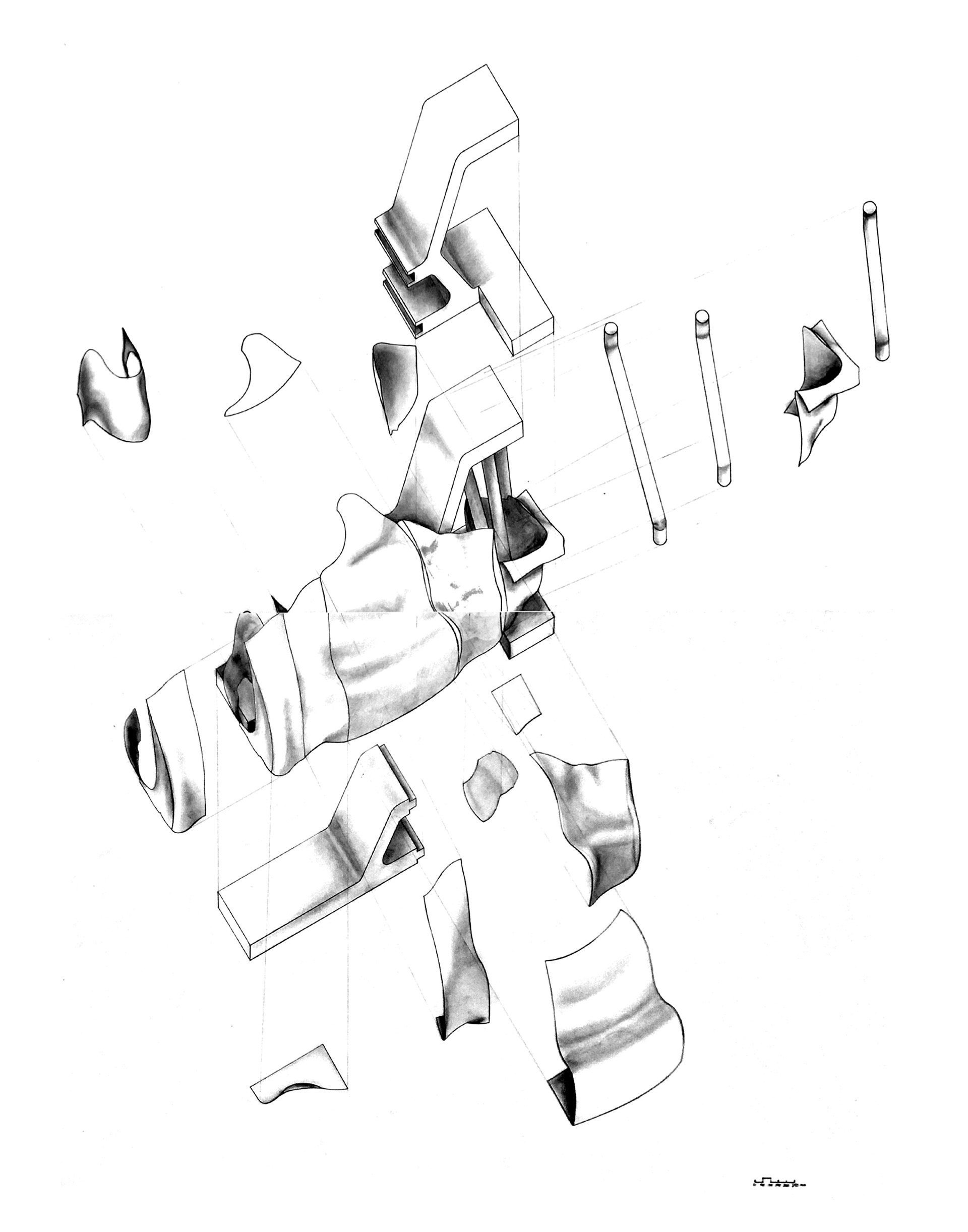 Enlarge Photo: Exploded axonometric view of sitting object. By WONG Hon Ting, ZHAO Ruoning, CHENG Tsz Kwok.
