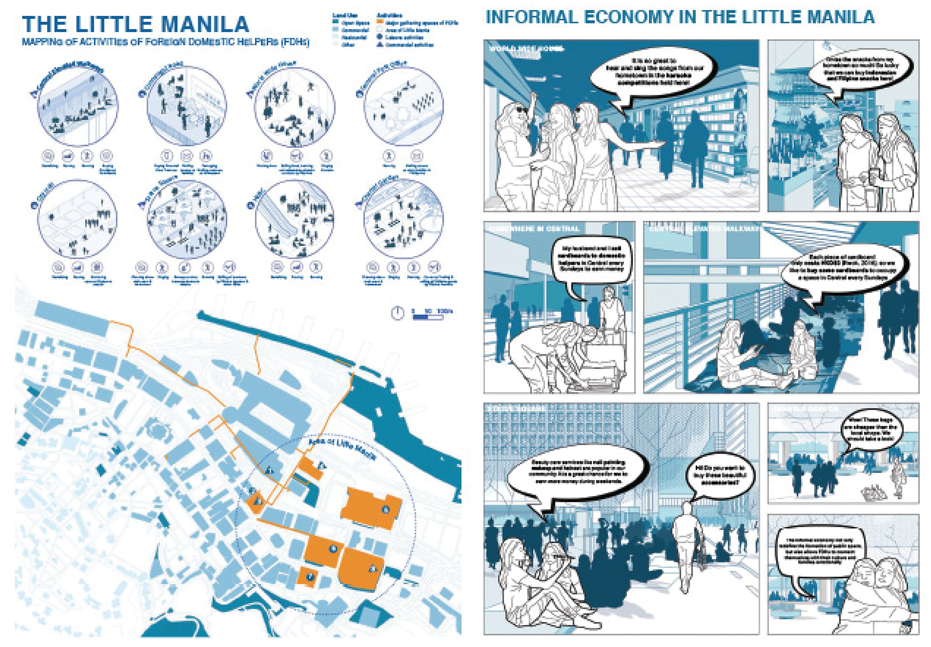 Enlarge Photo: Plan of Central and comic from the exercise visualizing readings. By CHONG Man Ting Mandy.