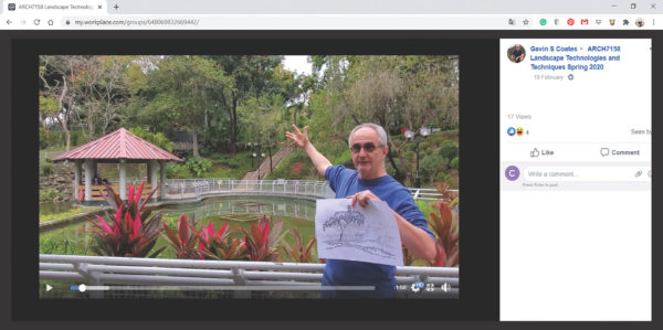 Screenshots from ARCH7158 Facebook workplace site: Virtual field Trip to Yuen Long Town Park Tree planting demonstration at ArkEden, Lantau.