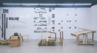 1. Installation of work for final discussion  Project: Repurposed pallets at Sai Wan Pier   Students: Liu Yujie Romi, Wang Yulai, Zeng Tian