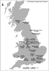 Spatial locations of 22 UKB assessment centres with number of participants.