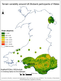 Terrain variability around UK Biobank participants' dwellings modelled as standard deviation in slope (measured from 5m resolution digital terrain model).<br>
