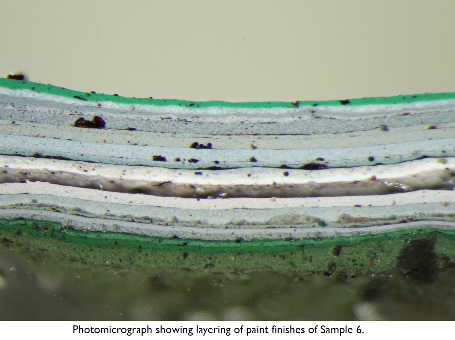Photomicrograph showing layering of paint finishes of Sample 6.