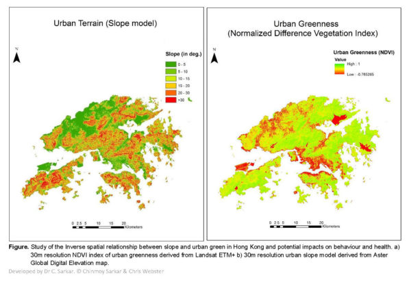 Study of the Inverse spatial relationship between slope and urban green in Hong Kong and potential impacts on behaviour and health. a) 30m resolution NDVI index of urban greenness derived from Landsat ETM+ b) 30m resolution urban slope model derived from Aster Global Digital Elevation map. Developed by Dr C. Sarkar. © Chinmoy Sarkar & Chris Webster