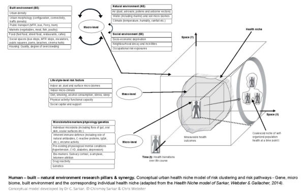 Human – built – natural environment research pillars & synergy. Conceptual urban health niche model of risk clustering and risk pathways - Gene, micro biome, built environment and the corresponding individual health niche (adapted from the Health Niche model of Sarkar, Webster & Gallacher, 2014). Conceptual model developed by Dr C. Sarkar. © Chinmoy Sarkar & Chris Webster