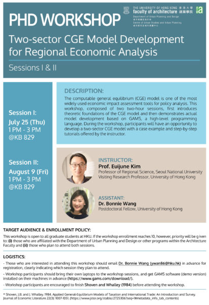 PhD Workshop Two-sector CGE Model Development for Regional Economic Analysis_1