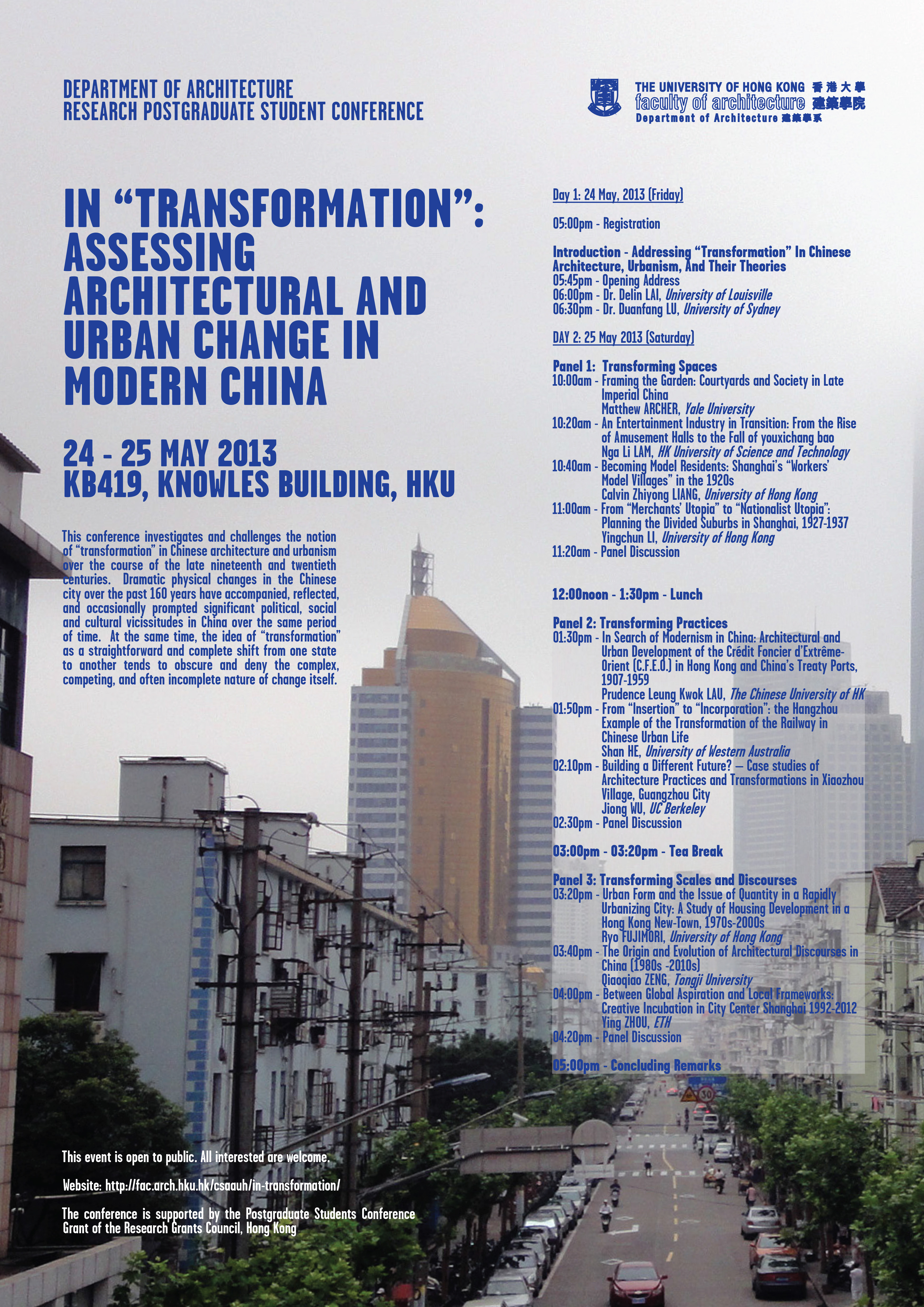 Department Of Architecture – Research Postgraduate Student Conference