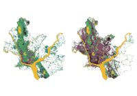NASA Landsat maps from 1975 and 2012 showing urban expansion into forest and agricultural landscapes at periphery.