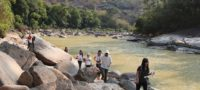 Students at the site of the SEZ's proposed reservoir, Kalonehtar village, Tanintharyi  / Dorothy Tang