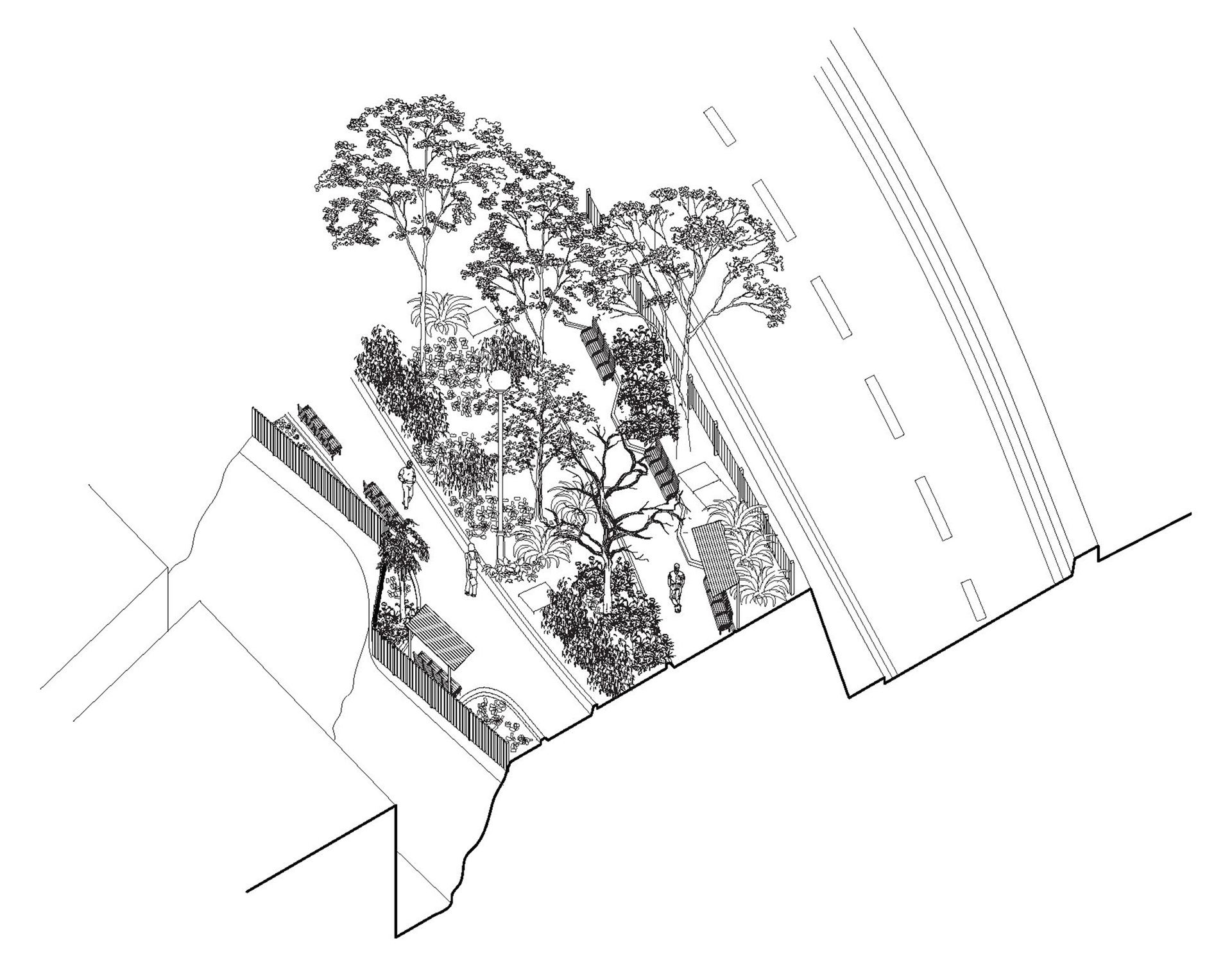 Enlarge Photo: Project 1 - (Inter)positioning: Yan Fung Street Rest Garden Spatial assembly axon. By CHEUNG Wing Ka Jasmine.