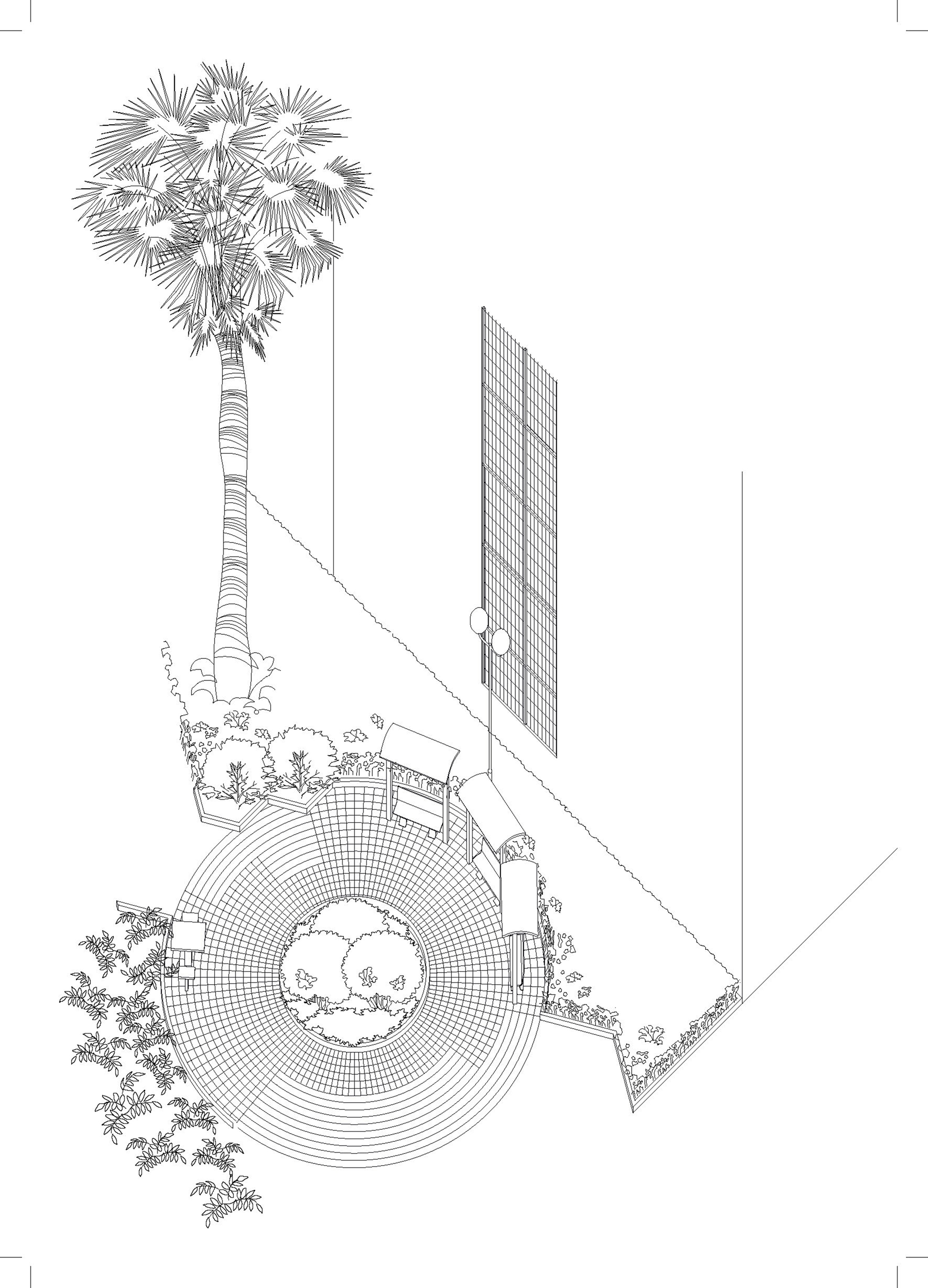 Enlarge Photo: Project 1 - (Inter)positioning: Portland Street Rest Garden Spatial Axon. By ZHOU Yifan Mia.
