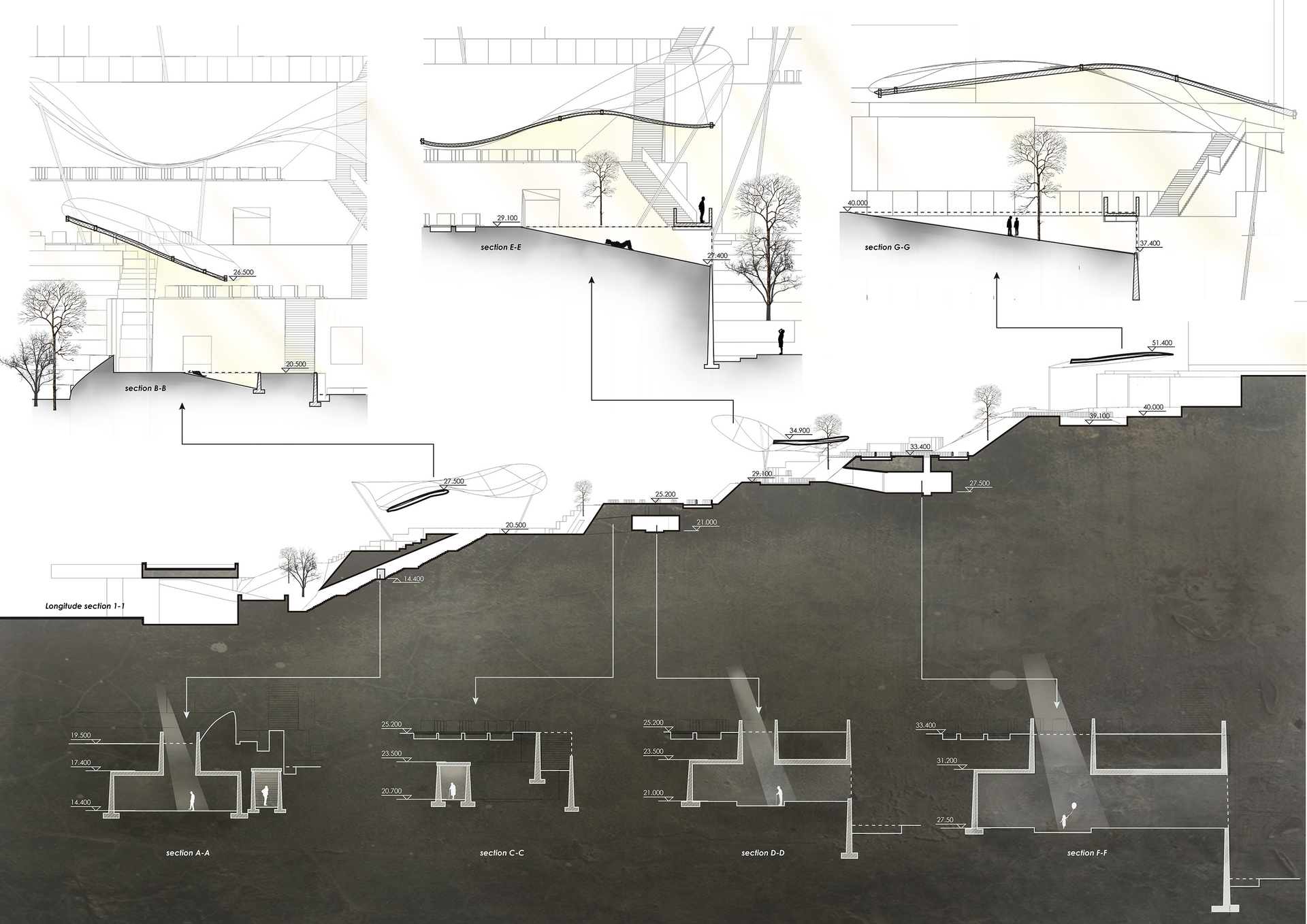 Enlarge Photo: Project 2 - A Cemetery Park In-Between Rendered Sections. By LU Fan Jimmy.