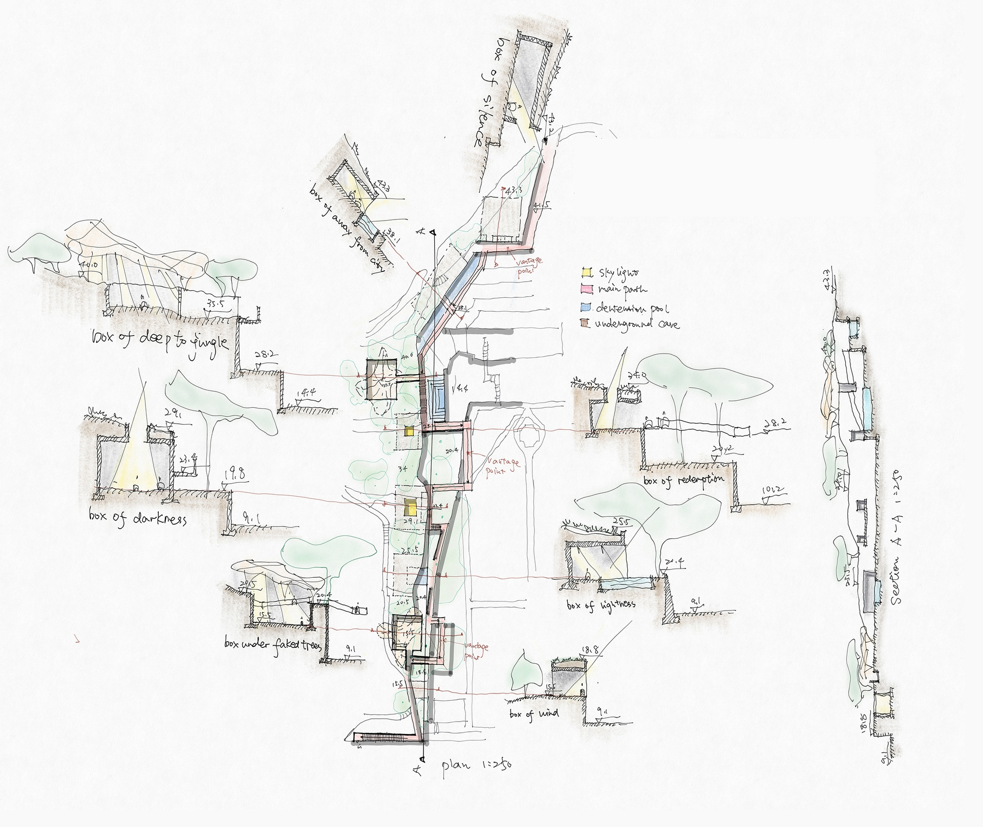 Enlarge Photo: Project 2 - A Cemetery Park In-Between Conceptual Plan and Sections. By LU Fan Jimmy.