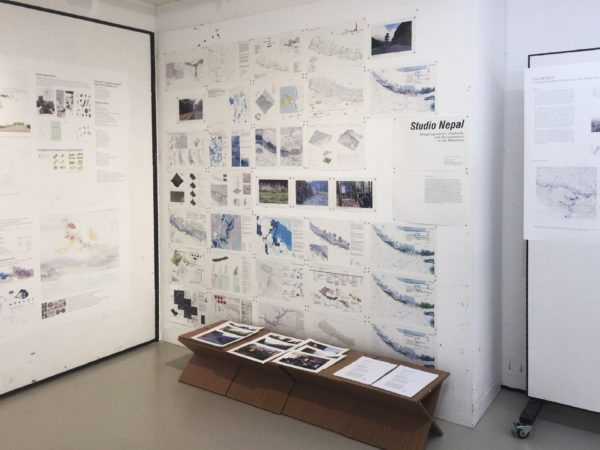 Initial student research and field photos exhibited at studio final review