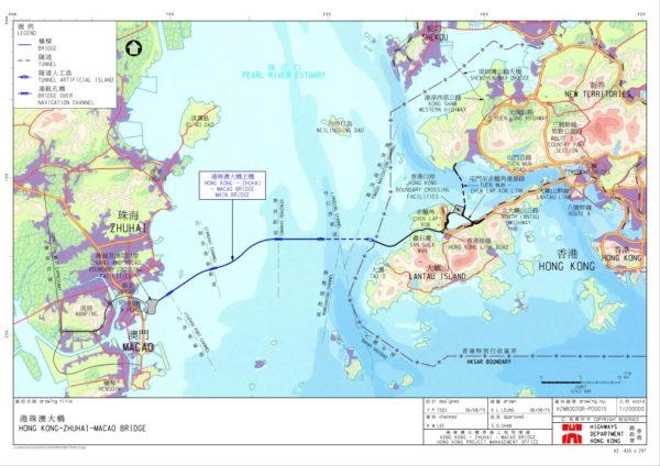 Enlarge Photo: Location of the HZM Bridge Source: Highways Department